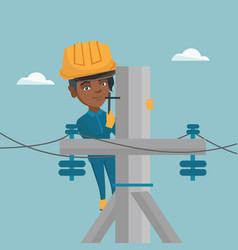 African electrician working on electric power pole vector