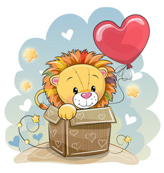 birthday card with a cute lion vector image