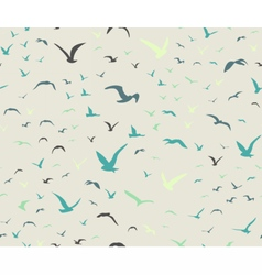 Blue colored seagulls silhouettes pattern vector image vector image