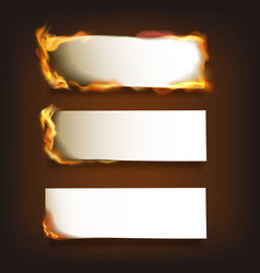 Burning paper set vector