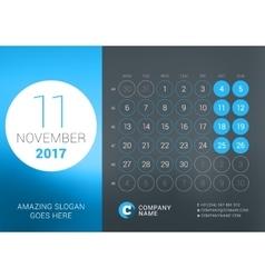 Calendar Template for November 2017 Design vector image vector image