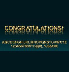 congratulations gold alphabetic fonts vector image vector image