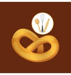 Cookware and pretzel vector