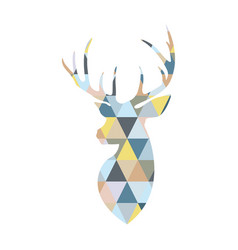 Deer head formed by triangular multicolored vector
