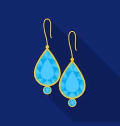 Earrings with gems icon in flat style isolated on vector