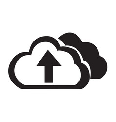Flat black cloud up button icon vector