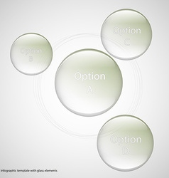 Four glass rings template with light background vector image vector image
