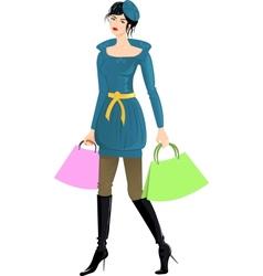 Girl going shopping vector image