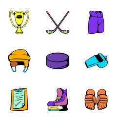 Hockey stadium icons set cartoon style vector