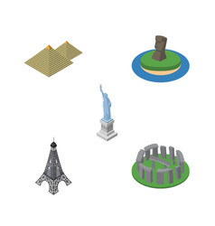 isometric attraction set of new york egypt chile vector image vector image