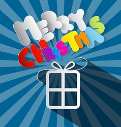 Merry Christmas Paper Gift Box and Title on Retro vector image vector image