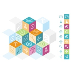 Modern cube box concept for office icons vector image vector image
