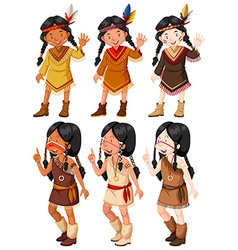 Native american indian girls waving vector