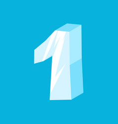 number 1 ice icicles font one frozen alphabet vector image vector image