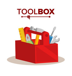 red classic toolbox full of equipment vector image