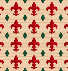 Retro fold red fleur-de-lis and green diamonds vector