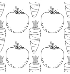 Seamless vegetable black white pattern with vector