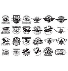 set of airplane training center emblems design vector image vector image