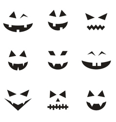 Set of faces for Halloween pumpkin vector image vector image