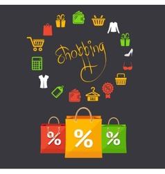 shoppinng sale concept card vector image