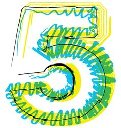 Sketch font Number 5 vector image