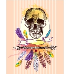 Skull and feathers vector