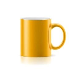 Yellow mug on white vector image vector image