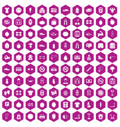 100 gym icons hexagon violet vector