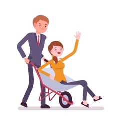 Man pushing a lady in the wheelbarrow vector