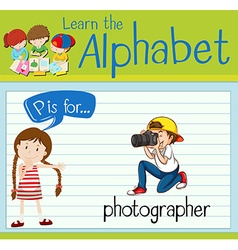 Flashcard letter p is for photographer vector