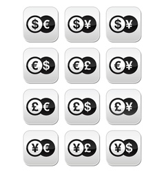 Exchange money buttons set - dollar euro yen vector image
