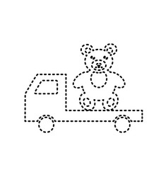 Truck with bear black dashed icon on vector