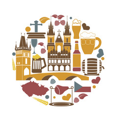 Czech republic national elements collection in vector