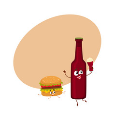 Funny beer bottle and yummy hamburger characters vector