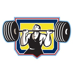 Weightlifter lifting heavy barbell retro vector