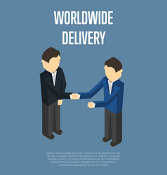 Worldwide delivery isometric banner vector