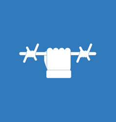 icon hand holding barbed wire vector image