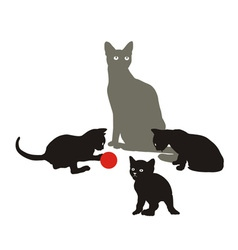 Cat family at play vector