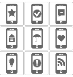 Simple icons of phones with different images vector
