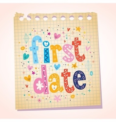 First date notepad paper message reminder vector