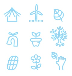 Cute doodle icons isolated on white - blue vector image