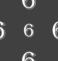 Number six icon sign seamless pattern on a gray vector