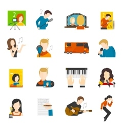 Pop singer flat icons set vector