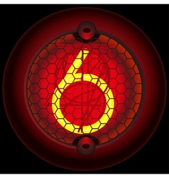 Digit 6 six nixie tube indicator vector