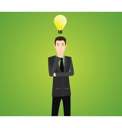 Businessman think with light bulb vector