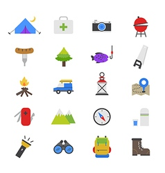 Camping flat color icons vector