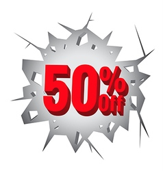 Sale 50 percent on hole cracked white wall vector