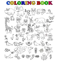 Coloring book of big animal cartoon set vector