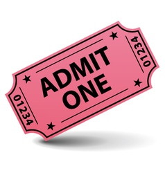 admit one pink ticket vector image vector image