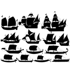 ancient sail boats vector image